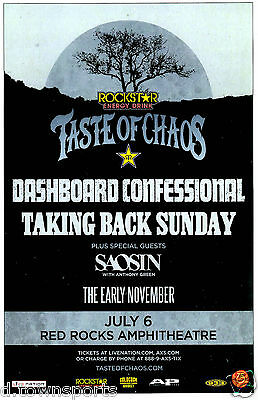 Taste Of Chaos 2016 w/ DASHBOARD CONFESSIONAL Red Rocks 11x17 Poster / Gig Flyer