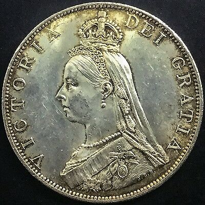 Great Britain 1887 Roman I Double Florin Victoria  Silver Nice Original