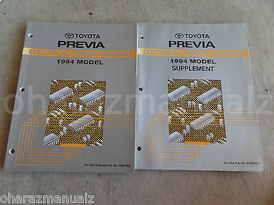 1994 Toyota Previa Electric Wiring Diagrams Manual OEM + Supplement