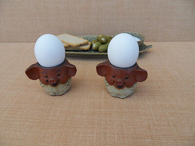 2 Double Cool Funny Vintage UCTCI PIG Egg Cups Holders Pottery Glazed JAPAN