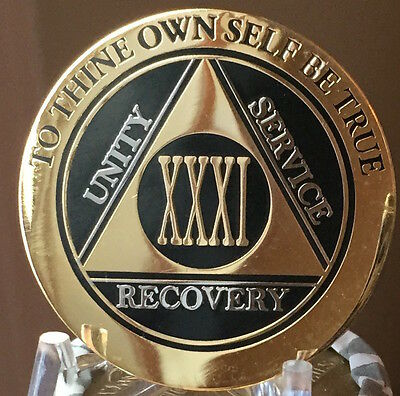 31 Year AA Medallion Black Gold Plated Bi-Plate Alcoholics Anonymous Chip Coin