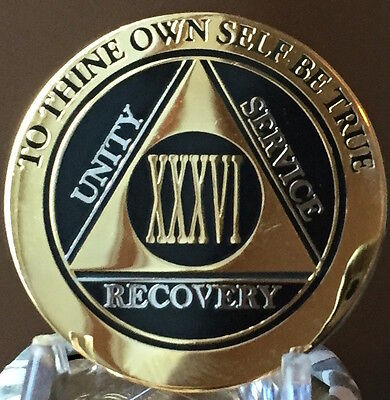 36 Year AA Medallion Black Gold Plated Bi-Plate Alcoholics Anonymous Chip Coin