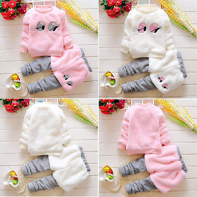Baby Winter Warm Infant Girls Cartoon Cotton Fur Thick Coat+Pants Dress Clothes