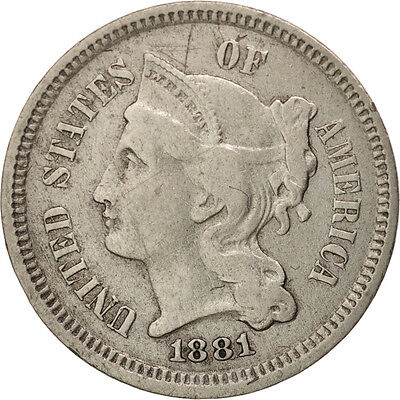[#97779] United States, Nickel 3 Cents, 1881, U.S. Mint, Philadelphia