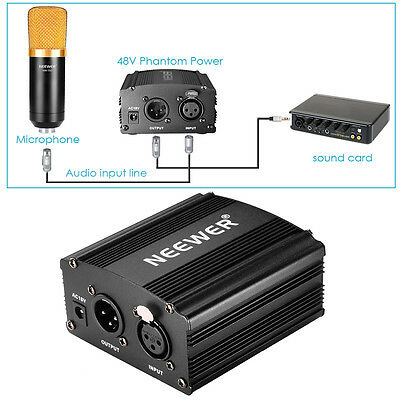 Neewer 1- Channel 48V Phantom Power Supply with Adapter and XLR Audio Cable