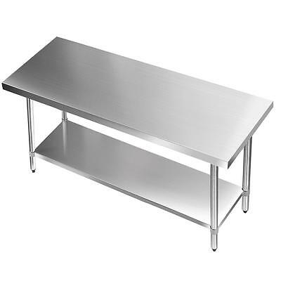 1524x610mm Commercial 304 Stainless Steel Kitchen Work Bench Food Prep Table Top