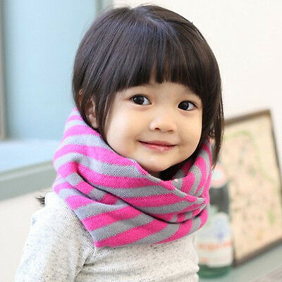 Baby Toddler Boy Girls Kids Neck Warmer Winter Warm Wool Stripes Scarf Shawl New