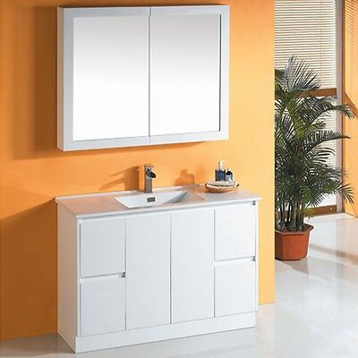 Finger pull 1200mm Bathroom Vanity white ceramic top polyurethane cabinet