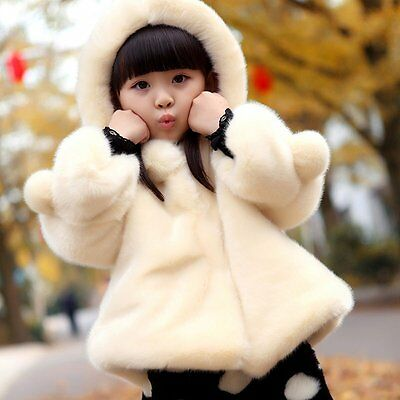 Posh Toddler Girl Kids Winter Warm Coat Faux Fur Hooded Outerwear Jacket Clothes