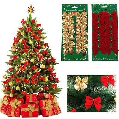 24x Bow Christmas Tree Decoration Xmas Bowknot Party Garden Wedding Ornament