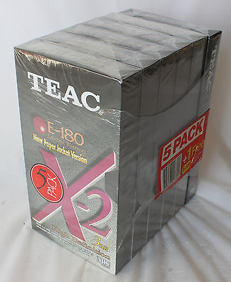 Lot 6 BLANK VHS VIDEO TAPES Factory Sealed TEAC E 180 3hr HD AS NEW