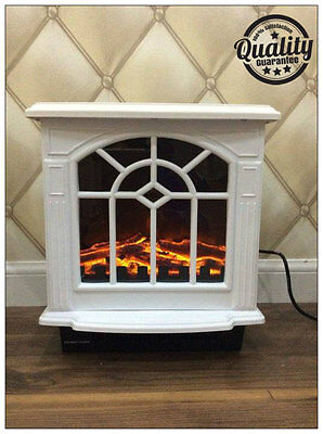 New Traditional 2Kw White Log Burner Flame Effect Electric Stove Fire Heater