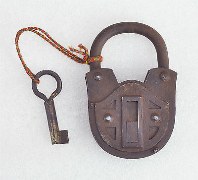 1850s Original Antique Hand Crafted Iron Brass Pad Lock Germany