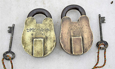 1920s Lot of 2 Antique Brass Finely Crafted Lever System Pad Locks