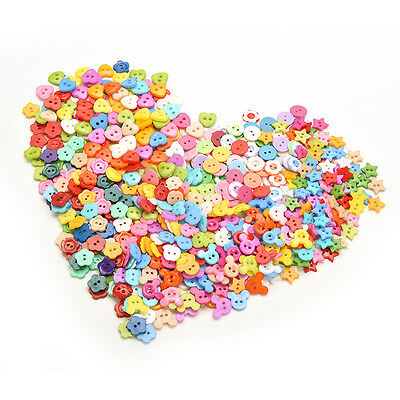 10mm New  DIY Plastic Buttons 6 Shapes Sewing Clothes Button Crafts Scrapbooking