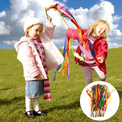 Funny 12pcs Hand Held Dance Rainbow Ribbon Toys for Children Kids Color Random
