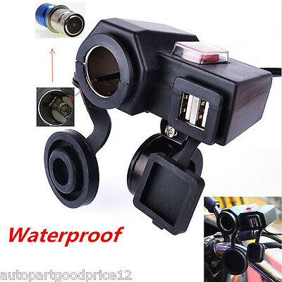 1x Waterproof Motorcycle 12V GPS Cigarette Lighter Dual USB Power Socket Charger