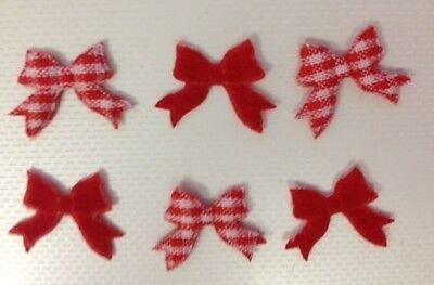Bulk 100 Small Red Gingham Fabric Bow Christmas Card Making Craft Embellishments