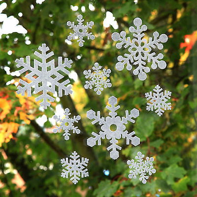 White Christmas Snowflake Window Clings Decorations Felt Stickers Pack of 18