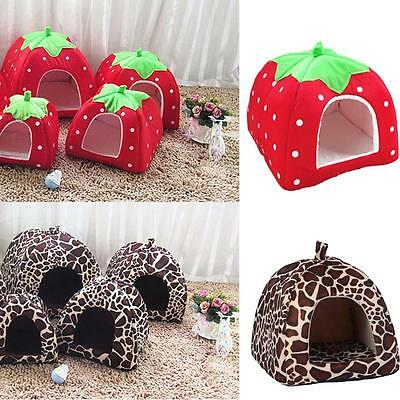 Soft Pet  Dog Cat House Strawberry Kennel Doggy Fashion Cushion Basket
