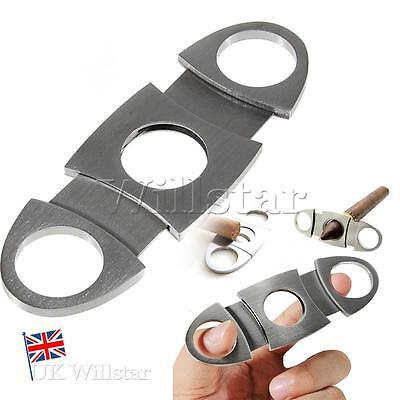 Stainless Steel Pocket Double Cigar Cutter Scissors Tobacco Twin Blades Silver