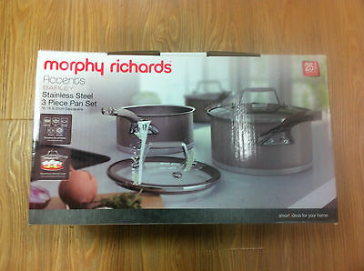 Morphy Richards Accents Barley Stainless Steel 3 Piece Pan Set - Free Shipping