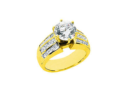 2.00Ct Round Cut Diamond Engagement Ring Princess 3Row Channel Accents 14k Gold