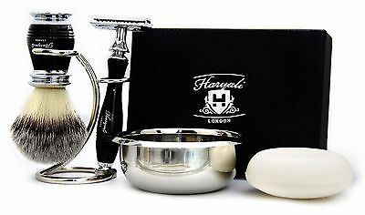 5 PIECES SHAVING SET. (Synthetic Hair,DE Safety Razor,Stand & Soap)PERFECT GIFT.
