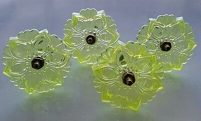 Set of 4 matching Victorian style vaseline glass curtain tie backs (b)