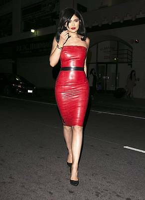Kylie Jenner Red Latex Rubber Dress, One Size NEW RRP £250