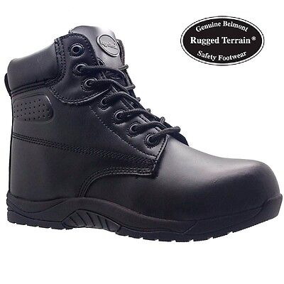 Mens S3 Leather Black Lightweight Safety Work Toe Cap Boots  Shoes Trainers Size