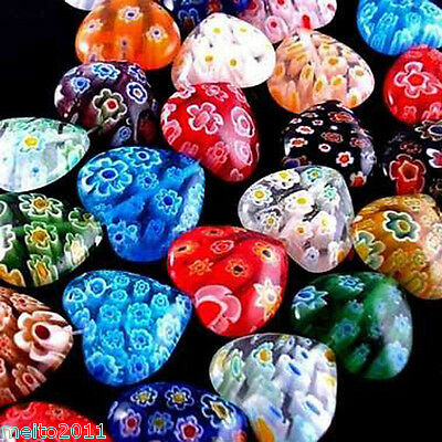 200pcs 10mm Colorful Heart Shining Millefiori Glass Craft Beads For Jewelry DIY