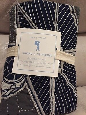 1 Pottery Barn Kids Star Wars X-Wing & Tie Fighter Quilted Euro Sham NWT