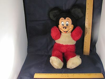 "Vintage 12"" Mickey Mouse Plush Stuffed Animal with Rubber Face"