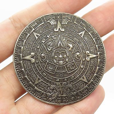 Signed Mexico 925 Sterling Silver Large Mayan Calendar Pin Brooch Pendant