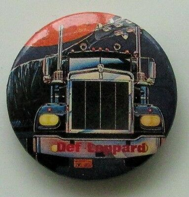 DEF LEPPARD ON THROUGH THE NIGHT VINTAGE METAL BUTTON BADGE FROM THE 1980's