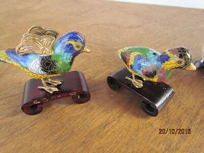 2 Cloisonne Enamel on Brass Mandarin Drake Duck Figurines