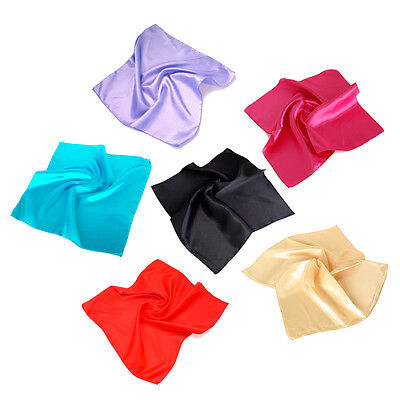 "Elegant Small Silk Feel Solid Color Satin Square Scarf 20"" - Different Colors"