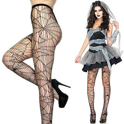 Women's Black Spiderweb Net Pantyhose Spider Web Punk Tights Halloween Costume