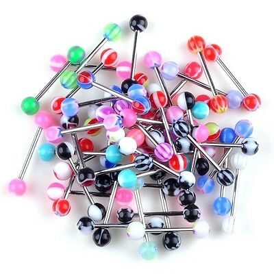 20/40/80/100X Colorful Arcyl Bar Tongue Rings Body Piercing Jewelry Tounge Bars