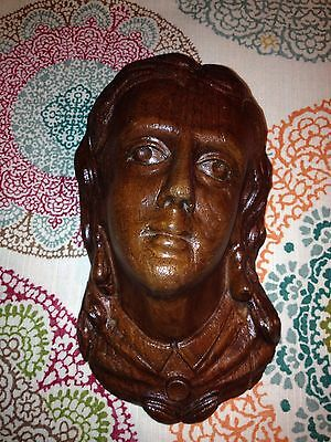 "1920's 7 7/8"" Carved Wood Male Head Pediment"