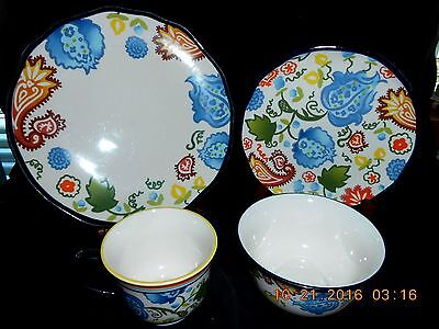32 Piece Set Service for 8 Threshold Stoneware CARNIGAN FIELD Pattern