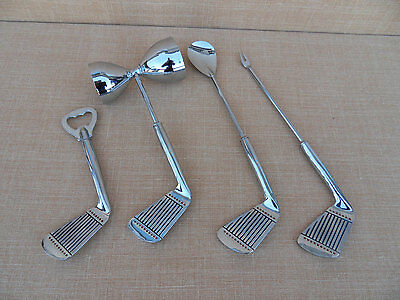 VINTAGE METAL CHROME Golf Club Spoon, Two Prong Fork, Jigger, and Bottle Opene