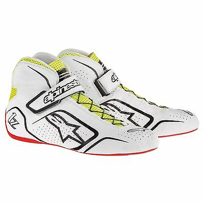 Alpinestars Tech 1-Z FIA Approved Race Boots White/Black/Yellow - UK 12/Eur 47