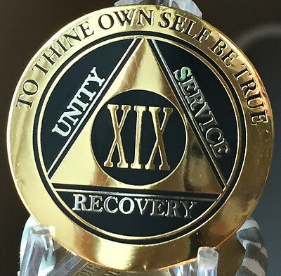 19 Year AA Medallion Black Gold Plated Bi-Plate Alcoholics Anonymous Chip Coin