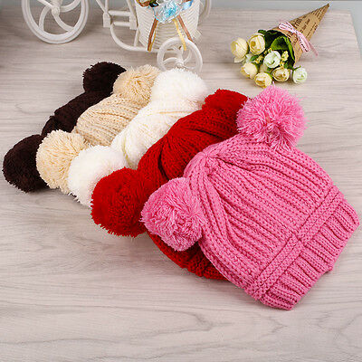 Lovely Baby Infant Kids Ball Knit Wool Sweater Cap Winter Warm Hat For Girls