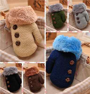 Baby Girl Boy Child Kid Winter Warm Thick Fur Knit Gloves Neck String Mittens