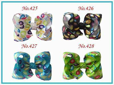 "50 BLESSING Good Girl Boutique 4.5"" ABC Hair Bow Pin Clip Barrette #474 Hairbow"