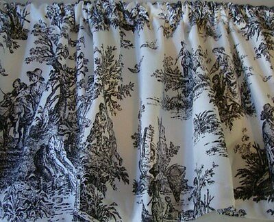 Black and White French Toile Print VALANCE Curtain Custom Made Window Treatment
