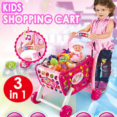 Kids Pretend Play Shopping Cart Light Adjustable Height Trolley Toy